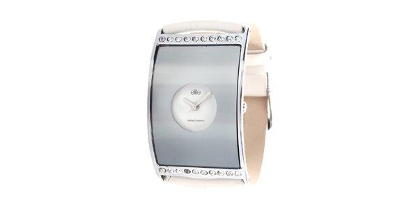 Dámské hodinky s bílým páskem a kamínky Elite