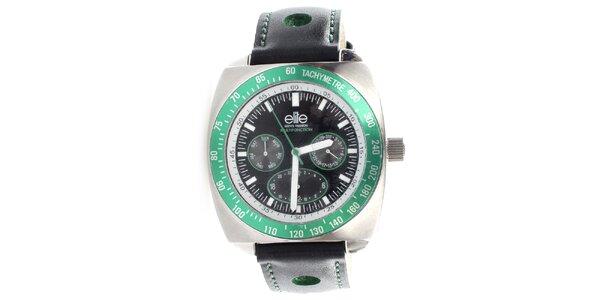Pánské hodinky se zelenou lunetou Elite