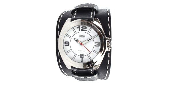 Pánské hodinky s černým prošívaným řemínkem Elite