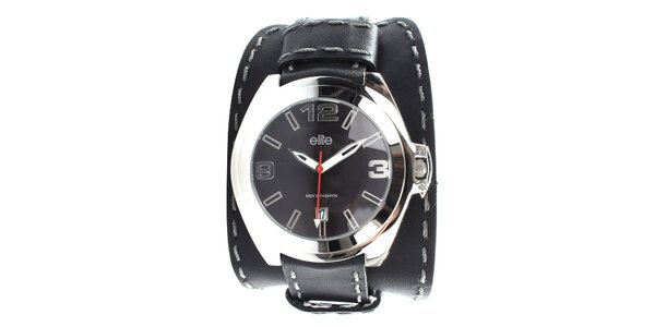 Pánské černé hodinky s šedým prošíváním Elite