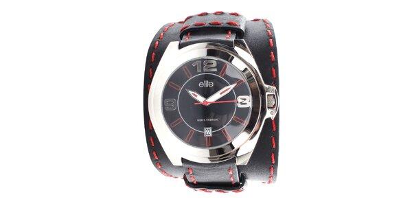 Pánské černé hodinky s červeným prošíváním Elite