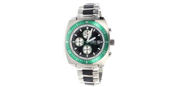 Pánské ocelové hodinky se zelenou lunetou Elite
