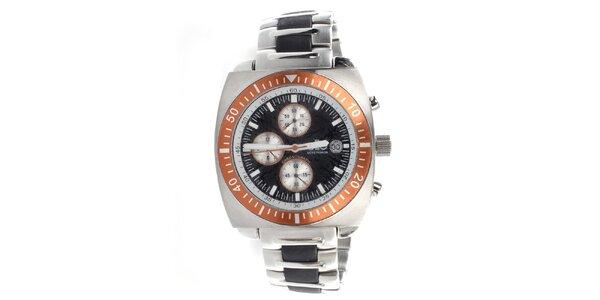 Pánské ocelové hodinky s oranžovou lunetou Elite