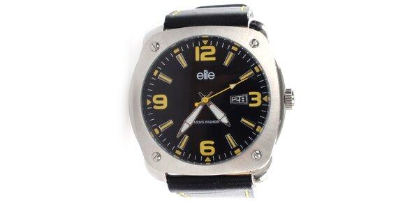 Pánské hodinky se žlutými indexy Elite