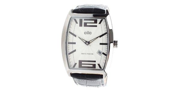 Pánské hodinky s černým vzorovaným páskem Elite
