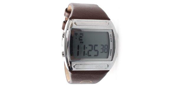 Pánské digitální hodinky s hnědým páskem Elite