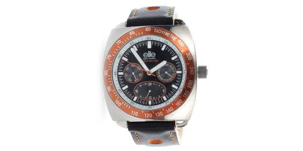 Pánské hodinky s oranžovými detaily Elite