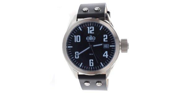 Pánské hodinky s černým řemínkem a datumovkou Elite