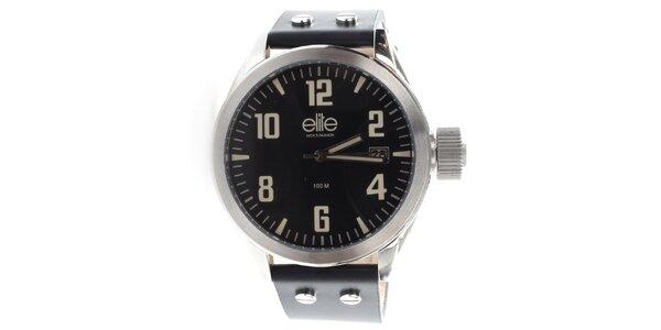 Pánské hodinky s černým ciferníkem a datumovkou Elite