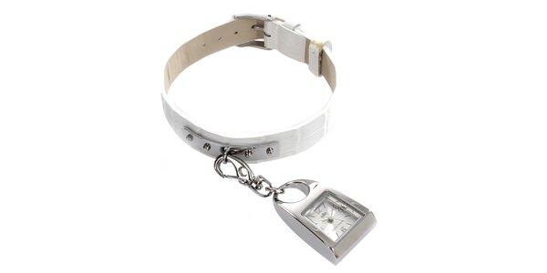 Dámské hodinky s karabinkou a bílým páskem Elite