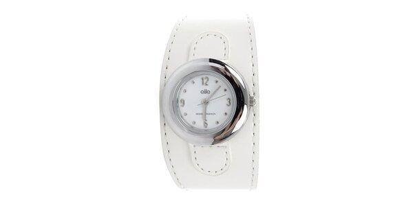 Dámské kulaté hodinky s bílým páskem Elite a5ea32b35b