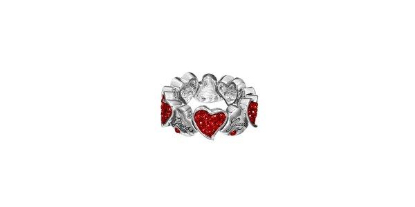 Dámský prsten s červenými srdíčky Guess