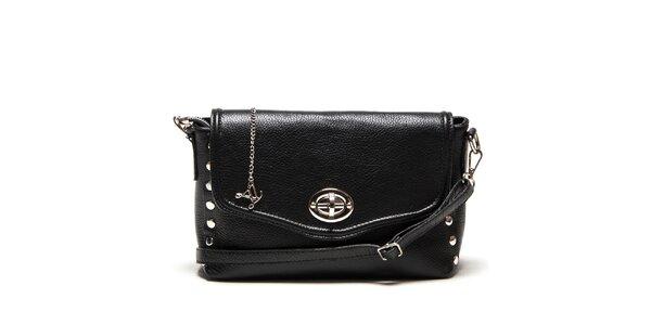 Dámská menší černá kabelka přes rameno se zámečkem Luisa Vannini