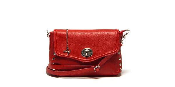 Dámská menší červená kabelka přes rameno se zámečkem Luisa Vannini