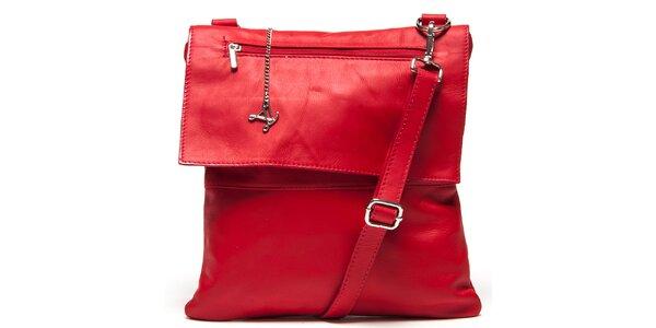 Dámská červená kožená kabelka s klopou Luisa Vannini