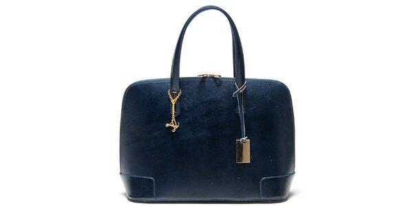 Dámská tmavě modrá kožená kabelka s přívěskem Luisa Vannini