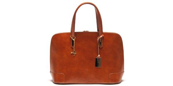 Dámská kožená kabelka v koňakové barvě Luisa Vannini