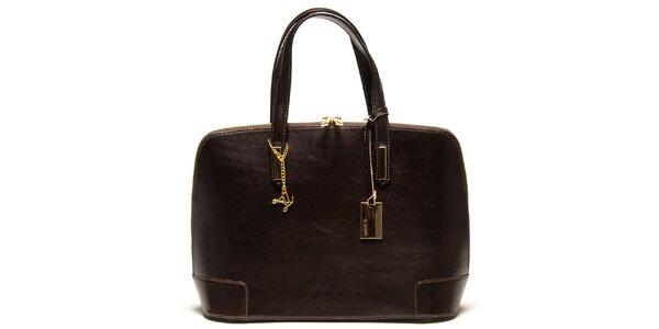 Dámská tmavě hnědá kožená kabelka s přívěskem Luisa Vannini