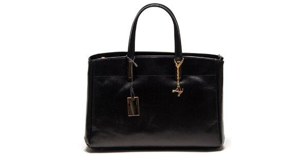 Dámská černá kožená kabelka se třemi odděleními Luisa Vannini