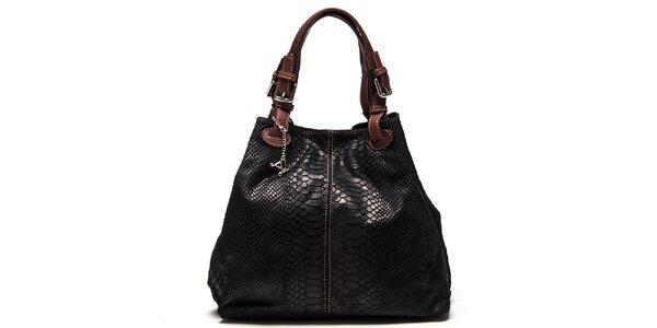 Dámská černá kožená kabelka se šupinatým vzorem Luisa Vannini