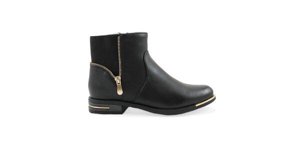 Dámské černé kotníkové boty s ozdobným zipem Ctogo GOGO