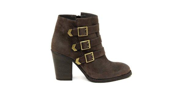 Dámské tmavě hnědé boty se třemi pásky Paola Ferri
