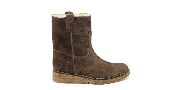 Dámské tmavě hnědé kotníkové boty s kožíškem Paola Ferri