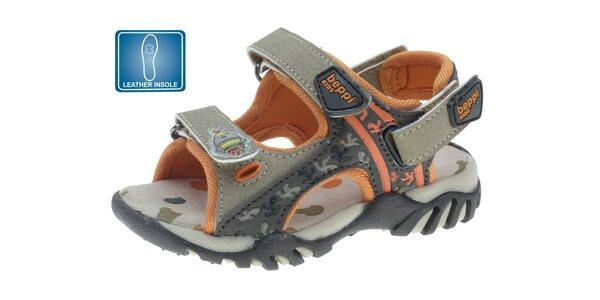 Dětské šedo-oranžové kožené sandále Beppi