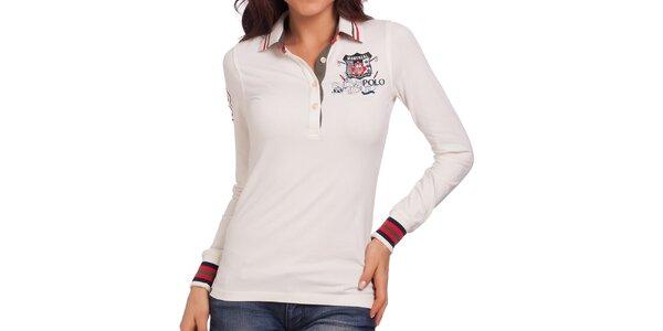Dámské smetanově bílé polo tričko s barevnými manžetami Galvanni