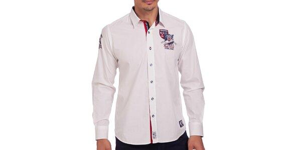 Pánská bílá košile s výšivkou na hrudi Galvanni