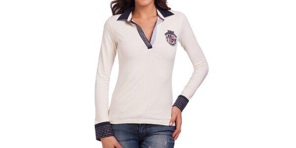 Dámské smetanově bílé polo tričko s blýskavými aplikacemi Galvanni