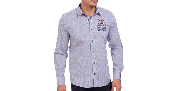 Pánská modře pruhovaná košile s výšivkou Galvanni