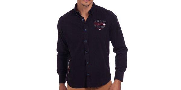 Pánská tmavomodrá košile s výšivkou na hrudi Galvanni