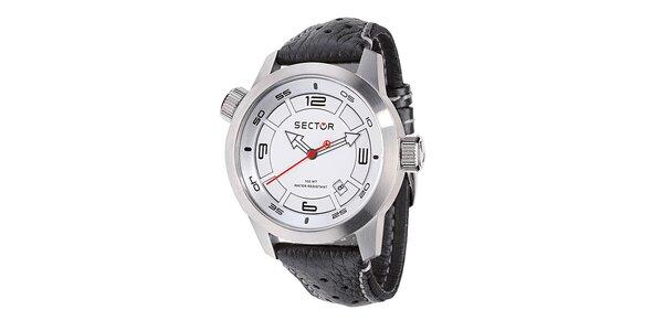 Pánské oversized hodinky Sector s černým koženým řemínkem