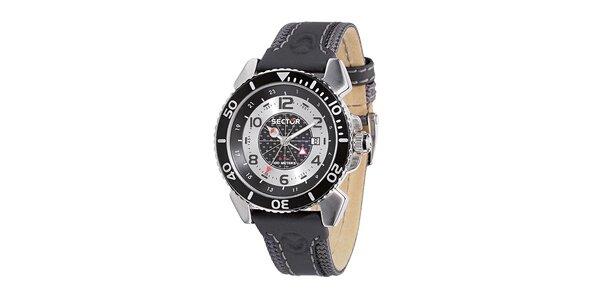 Pánské černo-stříbrné ocelové hodinky Sector s koženým řemínkem