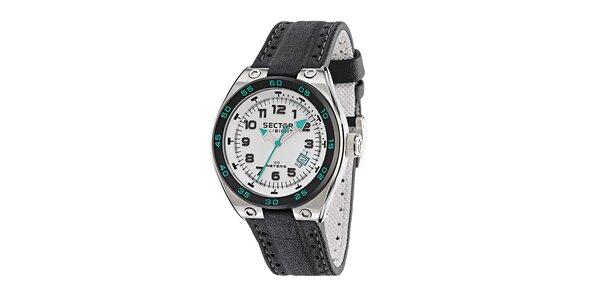 Pánské ocelové hodinky Sector s černým koženým řemínkem