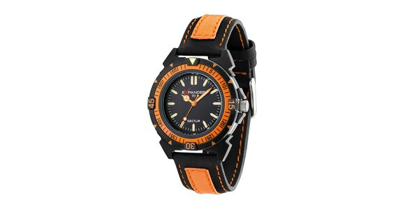 Pánské černo-oranžové ocelové hodinky Sector s koženým řemínkem