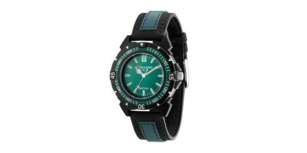 Tyrkysovo-modré ocelové hodinky Sector s koženým řemínkem