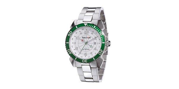 Pánské ocelové hodinky Sector se zeleným detailem