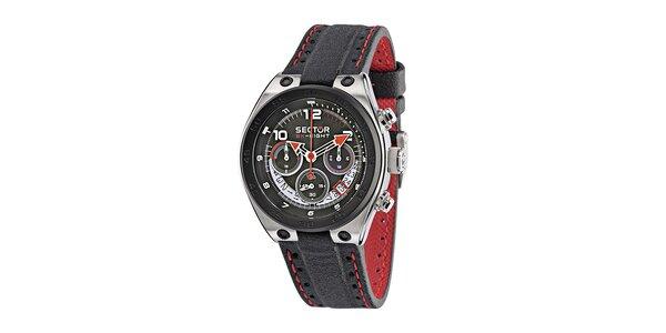 Pánské černé ocelové hodinky Sector s černo-červeným koženým řemínkem