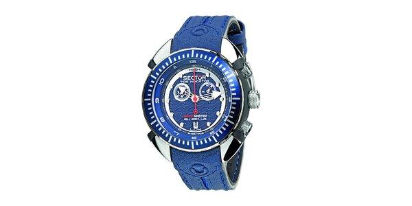 Pánské modré ocelové hodinky Sector s koženým řemínkem
