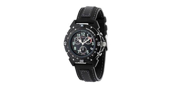 Černé ocelové hodinky Sector s koženým řemínkem