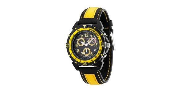 Černo-žluté ocelové hodinky Sector s koženým řemínkem