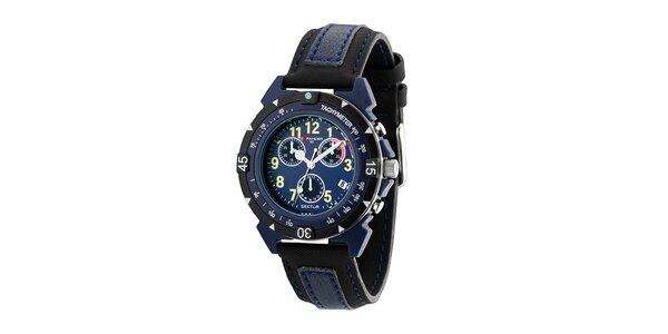 Pánské černo-modré ocelové hodinky Sector s koženým řemínkem