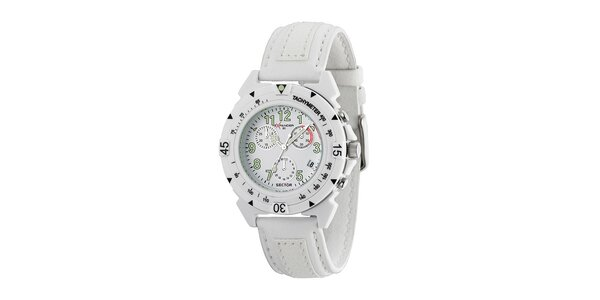 Bílé ocelové hodinky Sector s koženým řemínkem