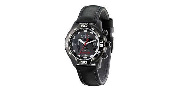 Pánské černé náramkové hodinky Sector s koženým řemínkem