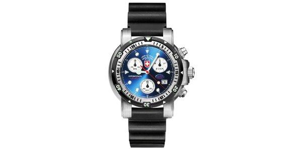 Pánské ocelové hodinky s gumovým řemínkem Swiss Military