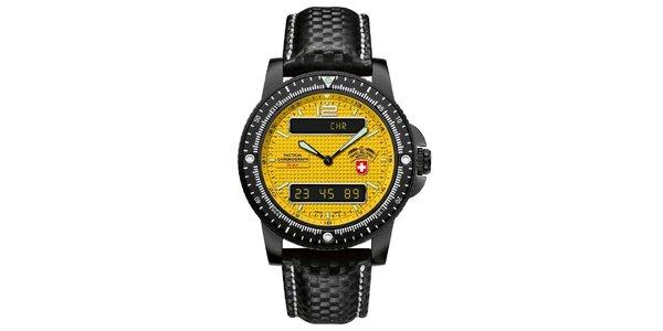 Pánské černé hodinky se žlutým ciferníkem a koženým řemínkem Swiss Military