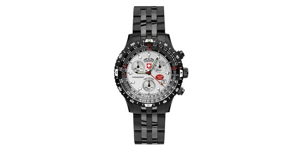 Pánské tmavé ocelové hodinky se světlým ciferníkem Swiss Military