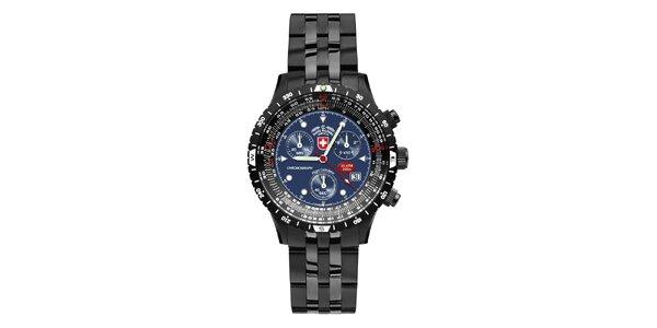 Pánské tmavé ocelové hodinky s modrým ciferníkem Swiss Military